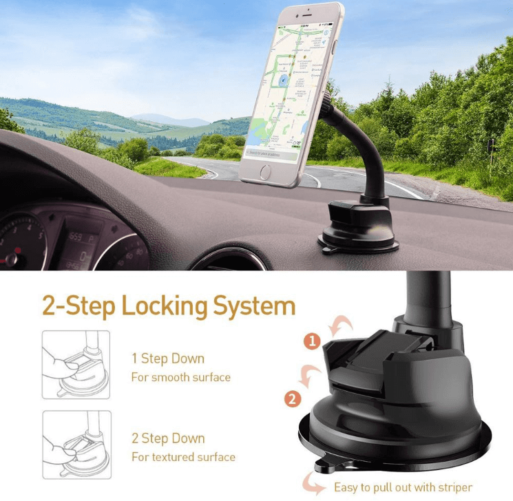 APPS2Car Car Dashboard Mount Washable Strong Sticky Gel Pad And Windshield MagGrip Universal Car Smartphone Mount for IPhone 8 Plus , Galaxy , Huwei,Google Nexus