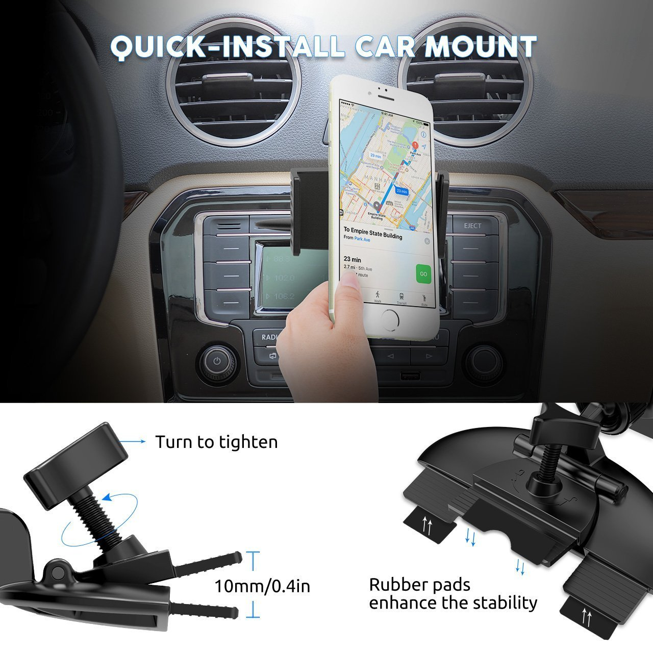 APPS2Car New Design OEM Magnetic Head 6PCS N45 Magnet Cradless CD Slot Car Mount Holder for IPhone X Samsung Cell Phones